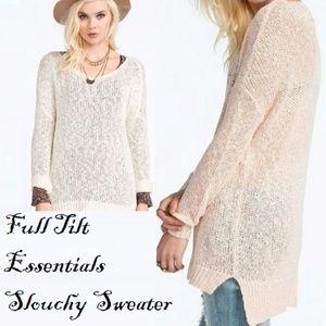 Full Tilt Essentials Knit White Slouchy Sweater L